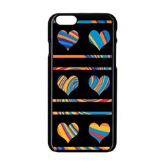 Colorful harts pattern Apple iPhone 6/6S Black Enamel Case