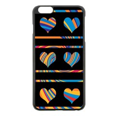 Colorful harts pattern Apple iPhone 6 Plus/6S Plus Black Enamel Case