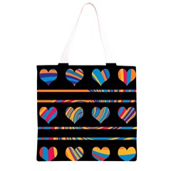 Colorful harts pattern Grocery Light Tote Bag