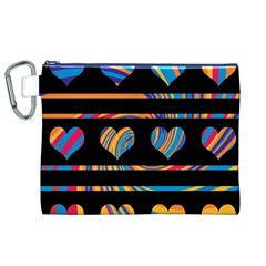 Colorful harts pattern Canvas Cosmetic Bag (XL)