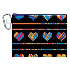 Colorful harts pattern Canvas Cosmetic Bag (XXL)