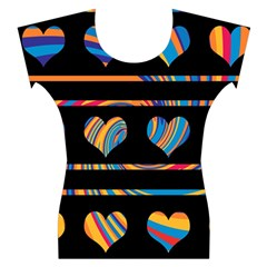 Colorful harts pattern Women s Cap Sleeve Top