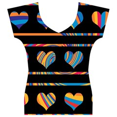 Colorful harts pattern Women s V-Neck Cap Sleeve Top