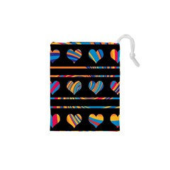 Colorful harts pattern Drawstring Pouches (XS)