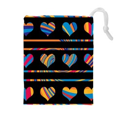 Colorful harts pattern Drawstring Pouches (Extra Large)