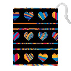 Colorful harts pattern Drawstring Pouches (XXL)
