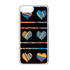 Colorful harts pattern Apple iPhone 7 Plus White Seamless Case