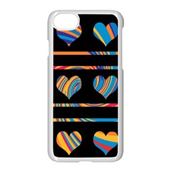 Colorful harts pattern Apple iPhone 7 Seamless Case (White)
