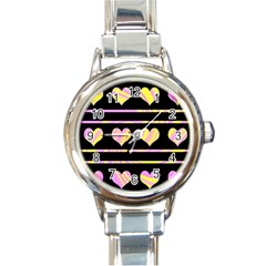 Pink and yellow harts pattern Round Italian Charm Watch