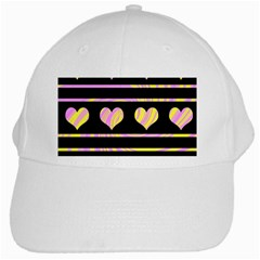 Pink and yellow harts pattern White Cap