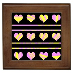 Pink and yellow harts pattern Framed Tiles