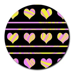 Pink and yellow harts pattern Round Mousepads