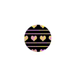 Pink and yellow harts pattern 1  Mini Buttons