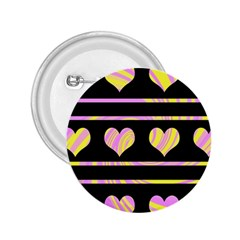 Pink and yellow harts pattern 2.25  Buttons
