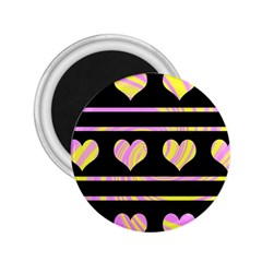 Pink and yellow harts pattern 2.25  Magnets