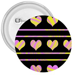 Pink and yellow harts pattern 3  Buttons