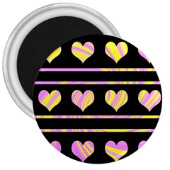 Pink and yellow harts pattern 3  Magnets