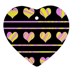 Pink and yellow harts pattern Ornament (Heart)
