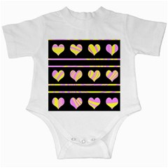 Pink and yellow harts pattern Infant Creepers