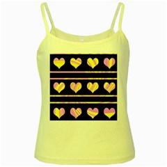 Pink and yellow harts pattern Yellow Spaghetti Tank