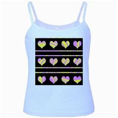 Pink and yellow harts pattern Baby Blue Spaghetti Tank