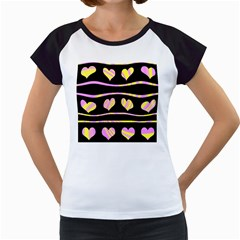 Pink and yellow harts pattern Women s Cap Sleeve T