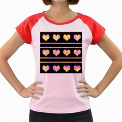 Pink and yellow harts pattern Women s Cap Sleeve T-Shirt