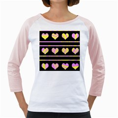 Pink and yellow harts pattern Girly Raglans