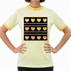 Pink and yellow harts pattern Women s Fitted Ringer T-Shirts