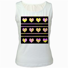Pink and yellow harts pattern Women s White Tank Top