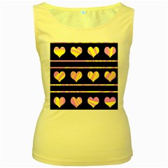 Pink and yellow harts pattern Women s Yellow Tank Top