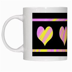 Pink and yellow harts pattern White Mugs