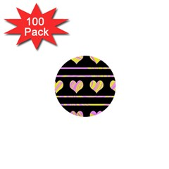 Pink and yellow harts pattern 1  Mini Buttons (100 pack)