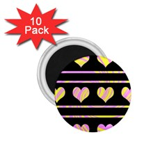 Pink and yellow harts pattern 1.75  Magnets (10 pack)