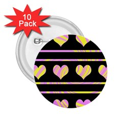 Pink and yellow harts pattern 2.25  Buttons (10 pack)