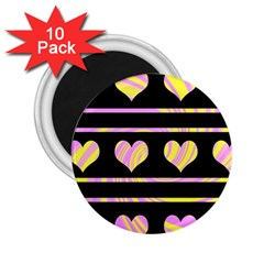 Pink and yellow harts pattern 2.25  Magnets (10 pack)