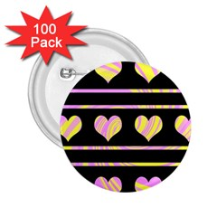 Pink and yellow harts pattern 2.25  Buttons (100 pack)