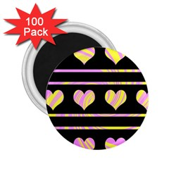 Pink and yellow harts pattern 2.25  Magnets (100 pack)
