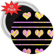 Pink and yellow harts pattern 3  Magnets (10 pack)