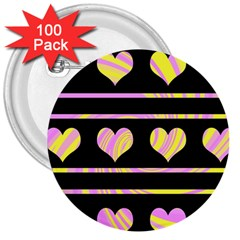Pink and yellow harts pattern 3  Buttons (100 pack)