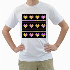 Pink and yellow harts pattern Men s T-Shirt (White) (Two Sided)