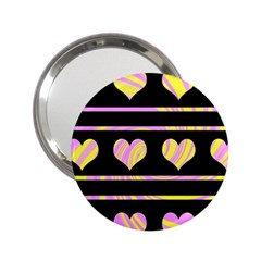 Pink and yellow harts pattern 2.25  Handbag Mirrors