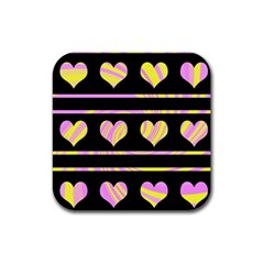 Pink and yellow harts pattern Rubber Coaster (Square)
