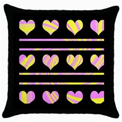 Pink and yellow harts pattern Throw Pillow Case (Black)