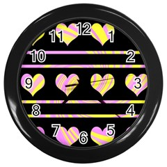 Pink and yellow harts pattern Wall Clocks (Black)