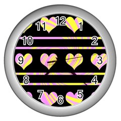 Pink and yellow harts pattern Wall Clocks (Silver)