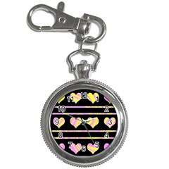 Pink and yellow harts pattern Key Chain Watches