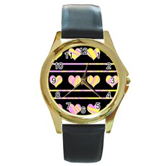 Pink and yellow harts pattern Round Gold Metal Watch
