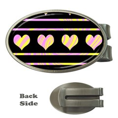 Pink and yellow harts pattern Money Clips (Oval)