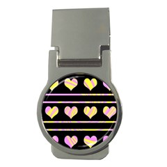 Pink and yellow harts pattern Money Clips (Round)